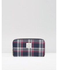 Jack Wills - Abingworth - Marineblaue Brieftasche mit Rundum-Reißverschluss und Karomuster - Mehrfarbig
