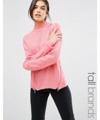 Noisy May Tall - Hochgeschlossener Pullover mit Zierreißverschlüssen - Rosa