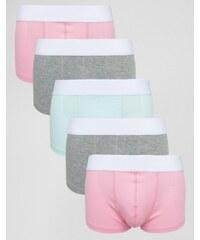 ASOS - Lot de 5 boxers pastel taille basse côtelés - Multi