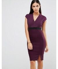 Vesper - Robe fourreau à encolure en V et taille - Violet