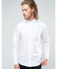 Rogues of London - Chemise skinny col grand-père - Blanc