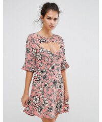 For Love and Lemons - Ayla - Kleid mit Schnürung und Mustern - Rosa