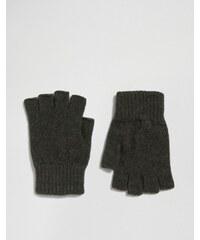 Glen - Lossie - Khakifarbene, fingerlose Handschuhe aus Lammwolle - Grün