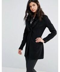 Little Mistress - Manteau avec col en fausse fourrure - Noir