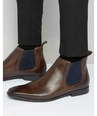 Base London - William - Bottines Chelsea en cuir - Marron