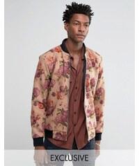Reclaimed Vintage - Bomber à fleurs en laine melton - Taupe