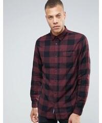 Selected Homme - Chemise coupe classique à carreaux en coton brossé - Gris