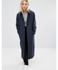 Cooper & Stollbrand - Manteau long oversize détendu en laine mouchetée - Bleu marine - Bleu marine