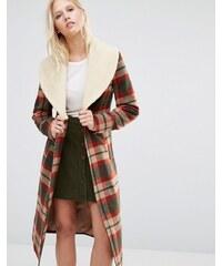 Cooper & Stollbrand - Manteau à carreaux avec col imitation peau de mouton - Multi