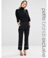 Alter Petite - Pantalon de pyjama cour avec passepoils contrastants - Noir