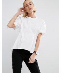 ASOS Oversized Cotton Pephem Top with Rib Neck - Weiß