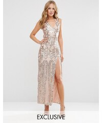 Club L Patterned Sequin Maxi Dress with Open Back - Doré