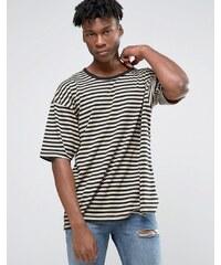 Other UK - T-shirt oversize à rayures et manches tombantes - Marron