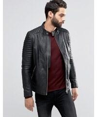 Religion - Veste en cuir à manches style motard - Noir