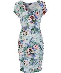 BODYFLIRT Kleid mit Raffung/Sommerkleid kurzer Arm in weiß von bonprix
