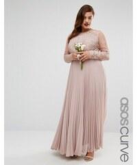 ASOS CURVE WEDDING - Plissiertes Maxikleid mit hübschem Spitzenbesatz - Rosa