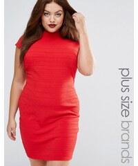 Club L Plus - Bandage-Kleid mit Flügelärmeln - Rot