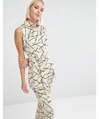 Lavish Alice - Haut avec ceinture à nouer et col à imprimé abstrait - Multi