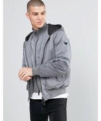 Armani Jeans - Veste imperméable à capuche et fausse superposition - Gris - Gris