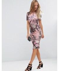 ASOS - Figurbetontes T-Shirtkleid aus Neopren mit Blumen- und Palmenmotiv - Mehrfarbig
