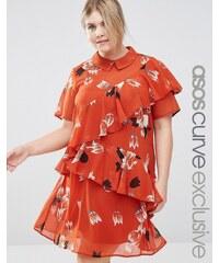 ASOS CURVE - Freizeitkleid mit Rüschen, Kragen und Tulpenmuster - Mehrfarbig