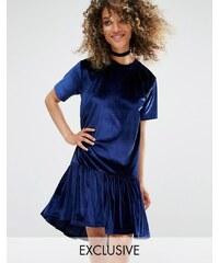 Milk It - Oversize-T-Shirt-Kleid aus Samt mit Volant-Saum - Blau