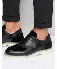 Zign - Oxford-Schuhe aus Wildleder-Leder-Mix - Schwarz