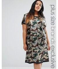 Liquor & Poker Plus - Robe oversize motif camouflage à sequins - Vert
