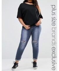 Liquor & Poker Plus - Jean super skinny taille mi-haute avec genoux déchirés - Gris