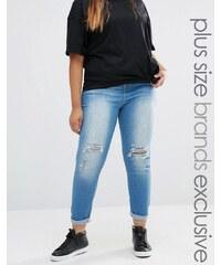 Liquor & Poker Plus - Jean super skinny taille mi-haute avec genoux déchirés - Bleu