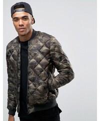 Pull&Bear - Bomber matelassé motif camouflage - Vert