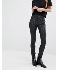 DL1961 Jessica Alba X DL No.1 - Superenge, beschichtete Jeans mit ultrahohem Bund - Schwarz