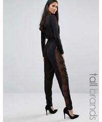 Y.A.S Tall - Lacey - Combinaison à manches longues avec empiècements en dentelle sur les côtés - Noir