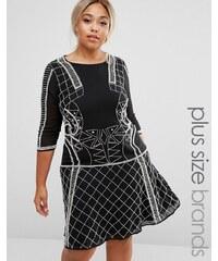 Lovedrobe - Luxe - Verziertes Kleid mit schwingendem Rock - Schwarz