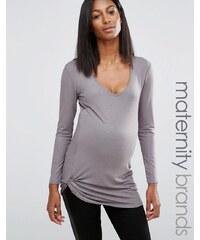 Noppies Maternity - Top à manches longues métallisé avec fronces - Gris