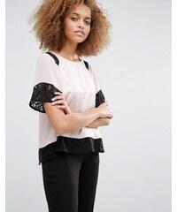 Warehouse - T-Shirt mit Spitzeneinsatz - Mehrfarbig
