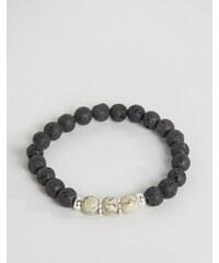 Seven London - Bracelet de perles avec perles marbrées contrastantes - Noir