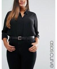 ASOS CURVE - Ledergürtel für Taille und Hüfte mit Schnalle in Roségold - Schwarz