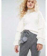 I Love Friday - Strickshirt mit Zopfmuster und Rüschenarm - Weiß