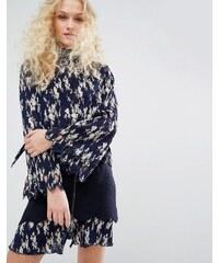 I Love Friday - Plissiertes Hemd mit Schluppe und Blumen-Print - Marineblau