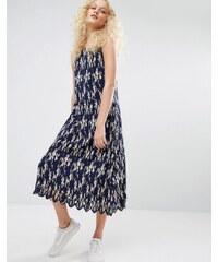I Love Friday - Florales Kleid mit Falten und dünnen Trägern - Marineblau