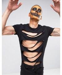 ASOS - Halloween - T-shirt long très déchiré - Noir - Noir