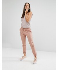 Missguided Ribbed Track Pants - Rosa