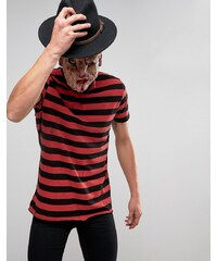 ASOS - T-shirt d'Halloween coupe longue à rayures effet vieilli - Rouge