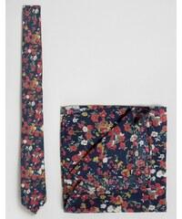 ASOS - Krawatte und Einstecktuch im Set mit Blumen-Print - Blau