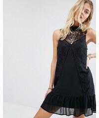 Abercrombie & Fitch - Robe en dentelle transparente à encolure montante - Noir