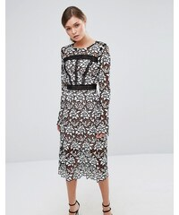 True Decadence - Robe mi-longue en dentelle de qualité supérieure avec incrustations effet échelle - Noir