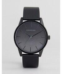 UNKNOWN - Urban - Schwarze Leder-Armbanduhr mit Farbverlauf - Schwarz
