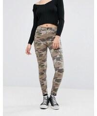 Pull & Bear - Jean skinny motif camouflage - Vert