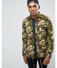 Pull&Bear Overshirt Jacket In Camo Print - Vert